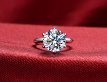 THREEMAN White Gold 6Prongs Setting 6CT Moissanite Solid White Gold Engagement Jewelry Solitaire Synthetic Diamonds Gold Ring
