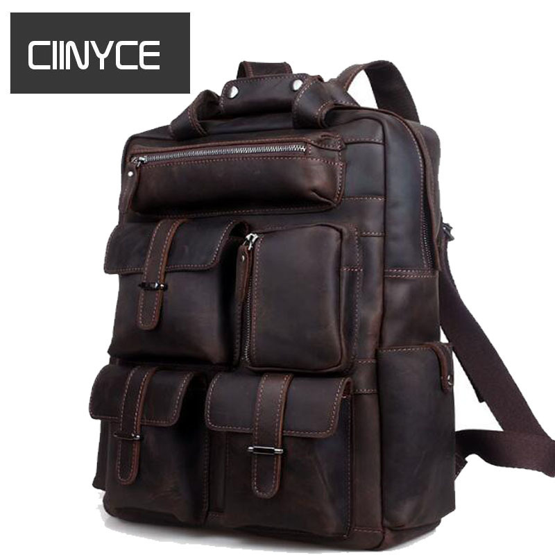 Multifunction Genuine leather men backpack bag vintage crazy horse cow leather large capacity travel rucksack anti thief Mochila multifunction genuine leather backpack men backpack fashion male school backpack travel bag large leather rucksack big black