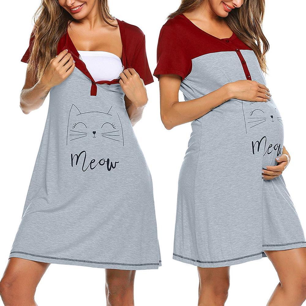 Maternity Clothes Nursing Nightgown Women's Maternity Nightwear Breastfeeding Labor Long Robe Lace Hospital Breastfeeding Gown
