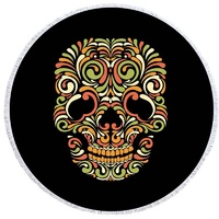 1476e1ffd 3D Print Suger Skull Floral Pattern Round Beach Towel Women Large Bath  Towel Thin Towel Tapestry
