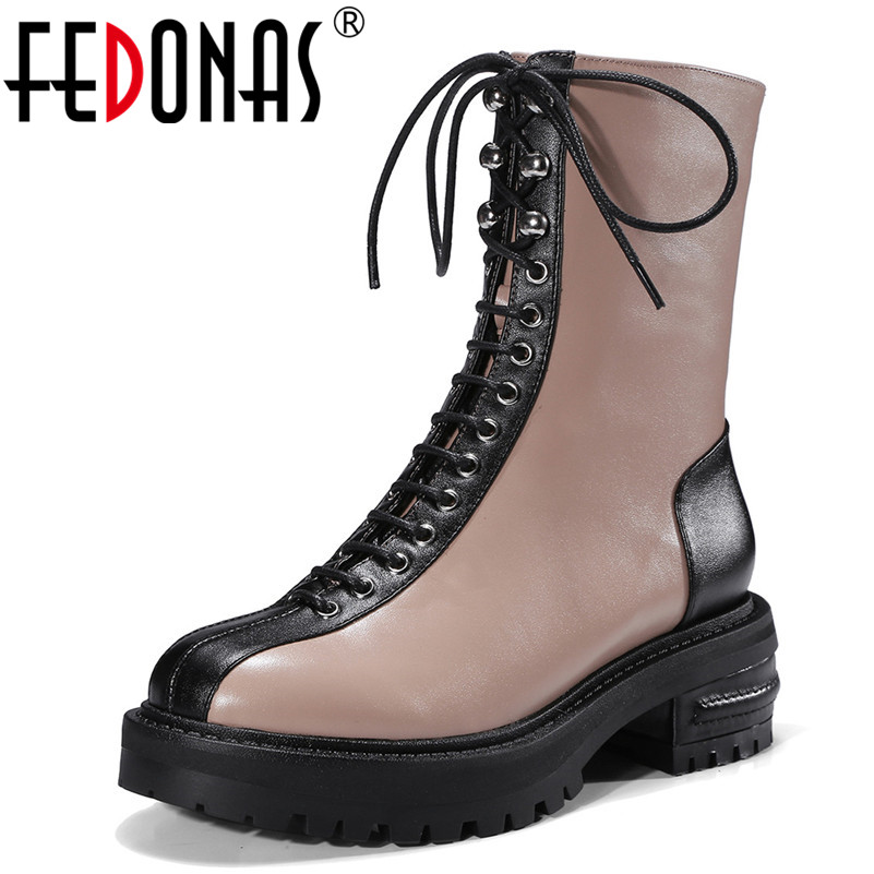 FEDONAS Women Mid-calf Boots Genuine Leather Thick Heels Lace Up Motorcycle Boots Fashion Platforms Martin Casual Shoes Woman british design mens casual mid calf martin punk motorcycle high boots rivets spring autumn genuine leather shoes lace up zapatos