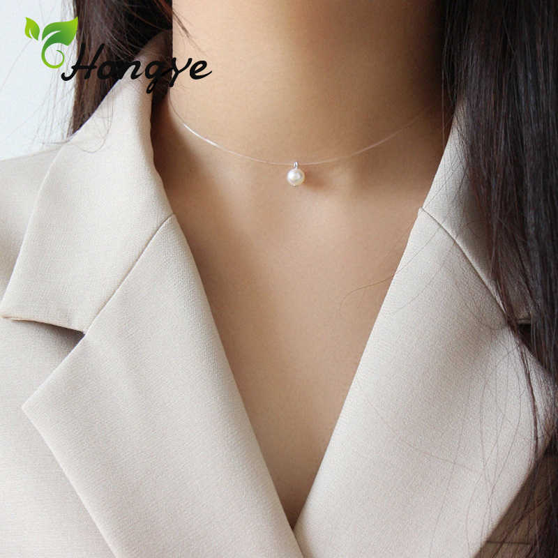 Hongye Oblate Freshwater Pearls Necklaces Women's Jewelry Choker Neck Chain Fishing Wire Female Simplicity Collar Accessories