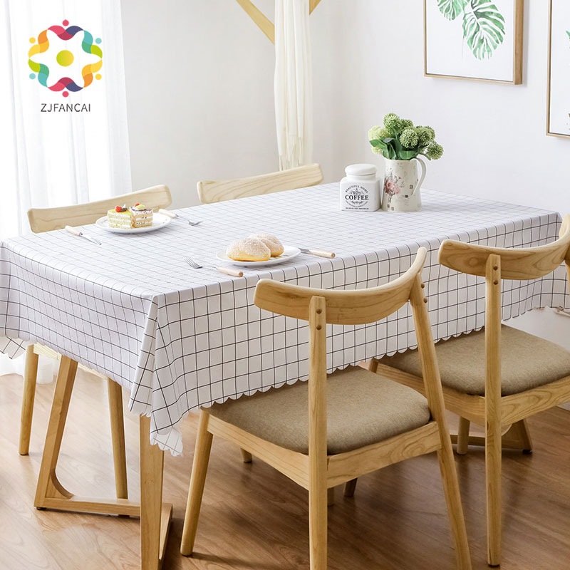 Pvc Middle Plaid Rectangular Table Cloth Waterproof Oilproof Plastic