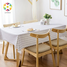 PVC Middle Plaid Rectangular Table Cloth Waterproof Oilproof Plastic Dining Cover Kitchen Tablecloth