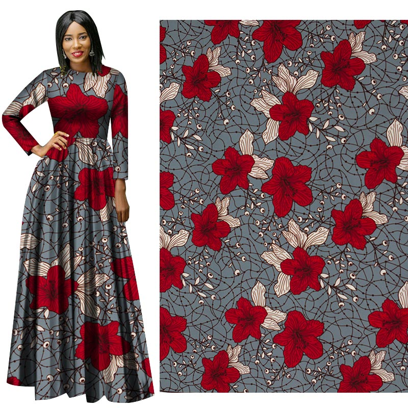 Me-dusa 2019 Latest red flower African Print Wax Fabric 100% cotton Hollandais Wax DIY Dress Suit cloth 6yards/pcs High quility(China)