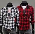 Venta caliente nueva marca de moda casual hombres de Gran tamaño de algodón a cuadros de manga larga camisa Delgada de Los Hombres 4 colores