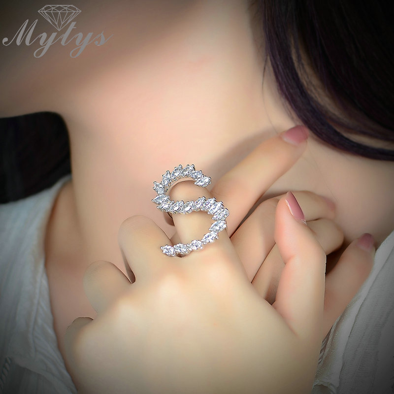 Mytys Anniversary Letter Rings Silver Color Cubic Zircon Weeding Ring Letter S Jewelry Gift for Women Girlfriend Free size R1878