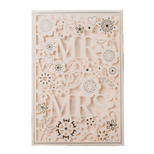 50pcs MR & MRS Right White Wedding Invitation cards Laser Cut Hollow Lace Invites Engagement Card invitations
