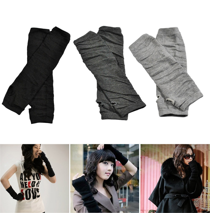 1 Pair Women Long Gloves Arm Length Keep Warm Mittens For Winter -MX8