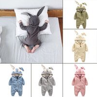 Newborn Infant Baby Girl Boy Clothes Cute 3D Bunny Ear Romper Jumpsuit Playsuit Autumn Winter Warm