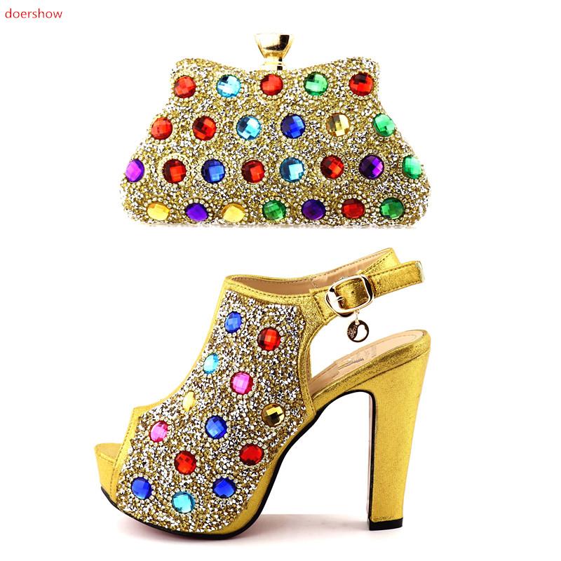doershow Italian Shoes And Bag Sets High Quality Matching gold Bag And Shoes For Evening Party Lady Shoes And Bag Set   HQQ1-14 italian visual phrase book