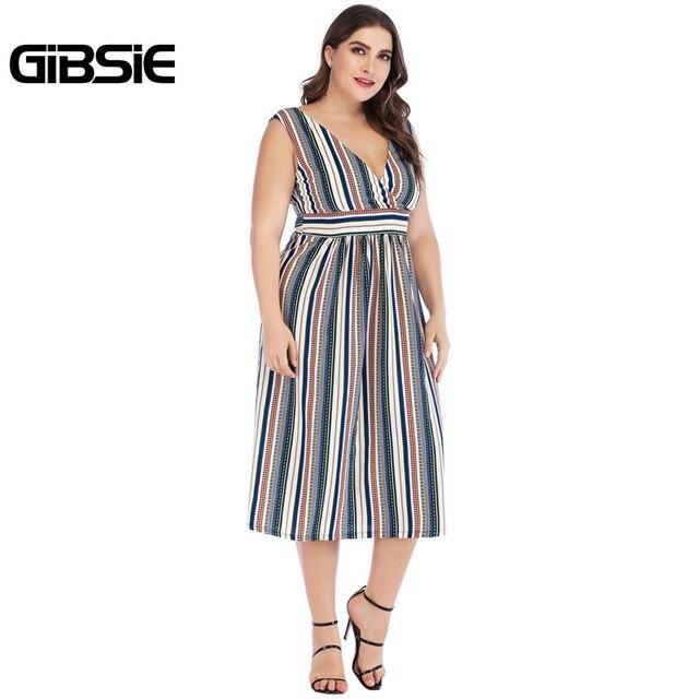 GIBSIE Sexy Wrap V Neck Striped Long Dress 5xl 4xl 3xl Summer Women Plus Size Dresses Female Sleeveless High Waist A Line Dress 3