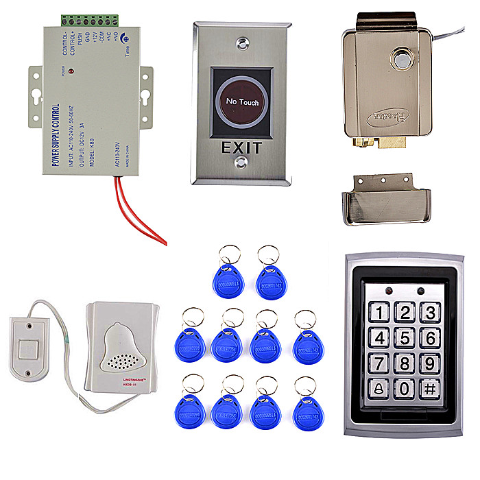 DIY RFID Metal Case Keypad Door Access Control Security System Kit + Electric lock +IR No Touch Door Button 7612 pic18f2550 pic18f2550 i so sop 28