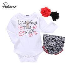 f51230010 Niño recién nacido Niñas Tops beso de la manga romper + short Pantalones +  flor de la venda 3 unids conjunto ropa