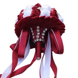 Image 4 - WifeLai Ramos De Novia Burgundyสีแดงสีขาวคริสตัลเจ้าสาวที่กำหนดเองประดิษฐ์ดอกไม้เพื่อนเจ้าสาวWedding Bouquet W224A 2
