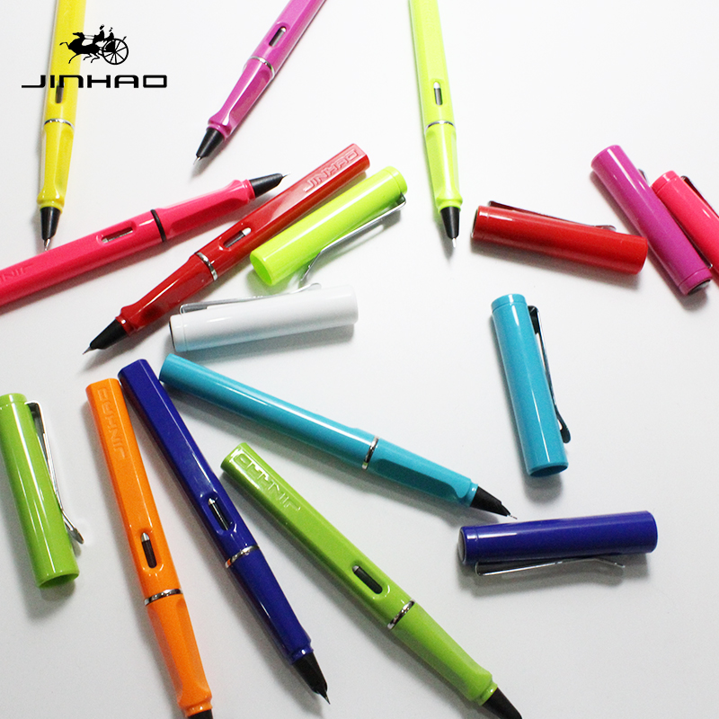 Jinhao 599A High Quality Plastic Fountain Pen 0.38mm Extra Fine Nib Ink Pens for Gift Office Stationery Supplies Free Shipping