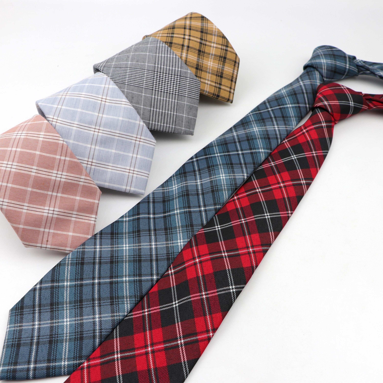 Cotton Men's Casual Necktie Classic Plaid Striped Cravat Fashion Slim Designer Ties 7cm For Business Party Wedding