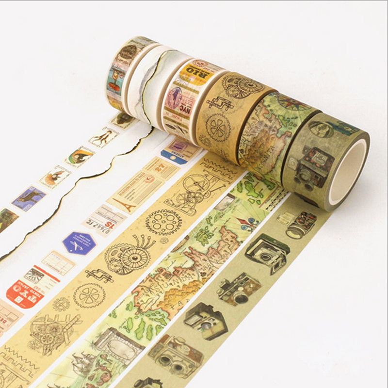 1X Retro decoration series tape washi tape sticker scrapbooking planner masking tapes office adhesive kawaii DIY stationery tape in Office Adhesive Tape from Office School Supplies