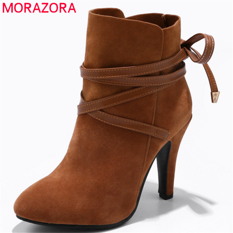 MORAZORA 2018 new arrival flock lace up ankle boots for women round toe  autumn winter boots high heels female shoes size 34-43 d8646808221b