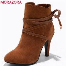 MORAZORA 2020 여성을위한 발목 부츠를 새로운 도착 무리 레이스 라운드 발가락 가을 겨울 부츠 하이힐 여성 신발 크기 34 43
