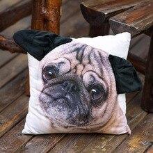 Especiales en forma de Oído Lindo Pug Dog Big Face Pattern Print Custom Home Decor Throw Pillow Case Cojín Almofadas Decorativas cubierta