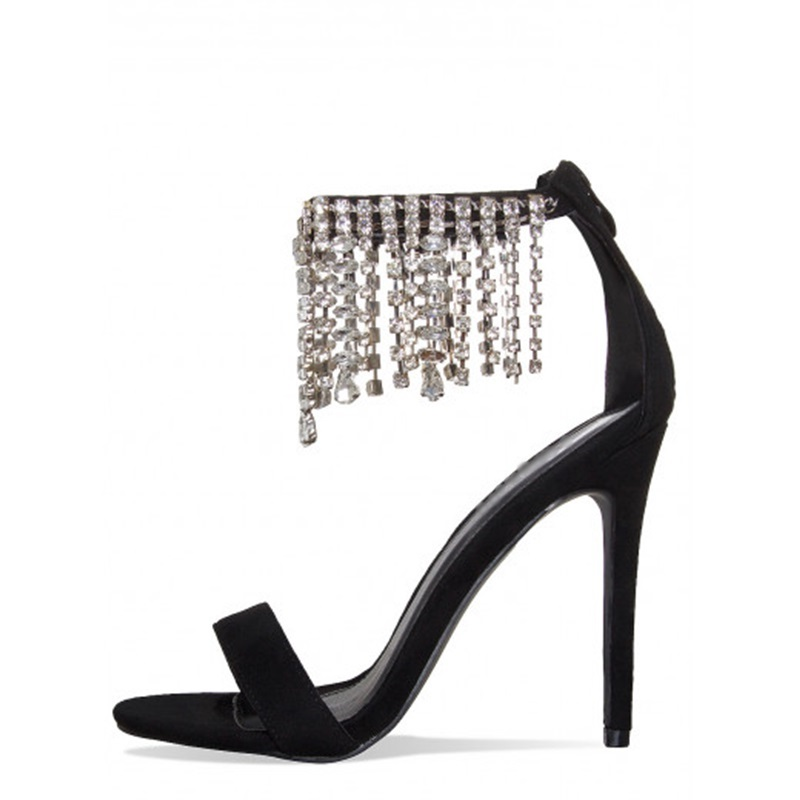 Sexy PU Women Sandals Thin High Heels 8 CM Up Crystal Open-Toed Solid Ladies Party Wedding Femme Shoes Size 35-43 asumer spuer heels shoes woman sexy lady fashion summer shoes flock buckle solid party shoes open toed women sandals size 34 43