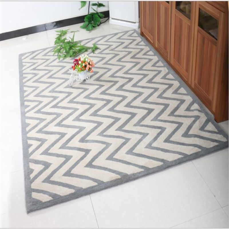 2017 New Fashion Simple Pure Wool Crease Pattern Soft Large Carpet For Living Room Bedroom Kid Play Rug Home Floor Delicate Mat