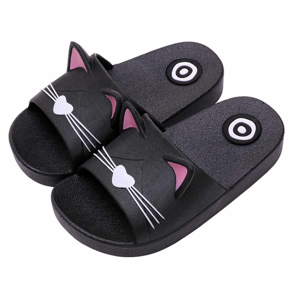 Baby Kids Girls Boys Home Slippers Cartoon Cat Floor Family Shoes Beach Sandals kids shoes summer beach slippers girls