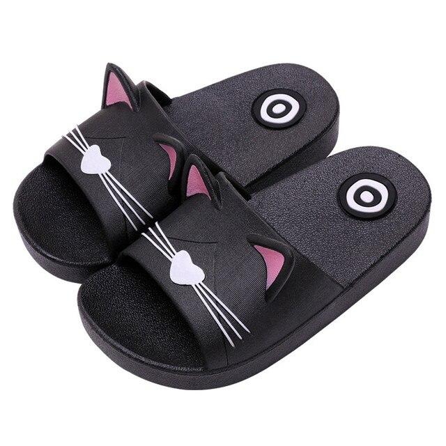 תינוק ילדים בנות בני הקריקטורה נעלי בית חתול רצפת משפחה נעלי חוף נעלי קיץ חוף נעלי בית בנות