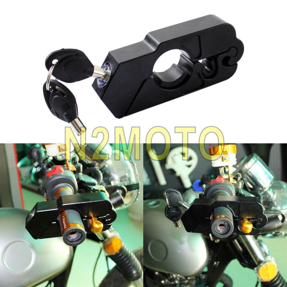 CNC Aluminum Motorcycle Grip Lock Security Protection Black Brake Clutch Lock For Honda Yamaha Suzuki Street Bike ATV Scooter