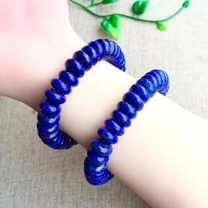 Image 4 - Doğal Mavi Lapis Lazuli Elips Taş Bilezik El Sanatları Boncuk 9/12mm Erkekler Takı Gem Taş Bilezik Kadınlar için hediyeler