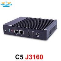 Причастником C5 4 ядра J3160 безвентиляторный мини ПК PFsense маршрутизатор сервер брандмауэра с Windows двойные NIC двойной HDMI