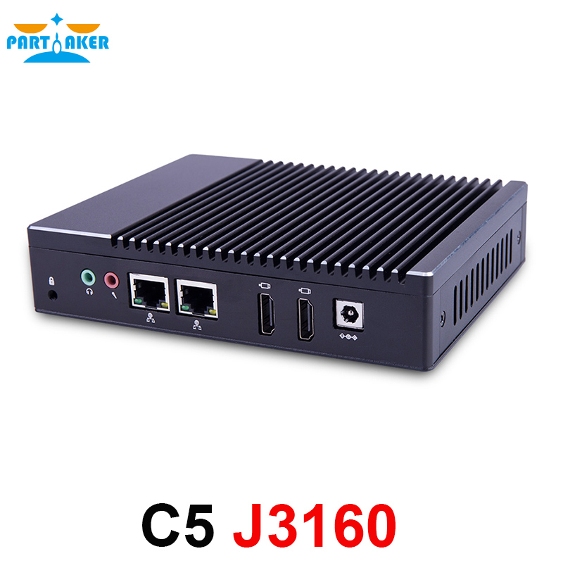 Partaker C5 Quad Core J3160 Fanless Mini PC PFsense Router Firewall Server With Windows Dual NICS Dual HDMI