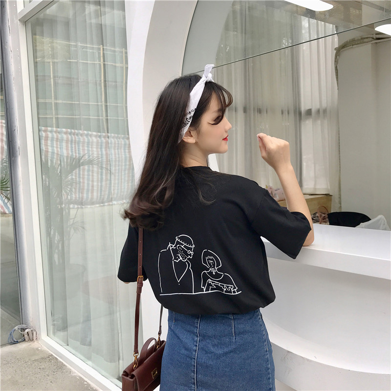 2018 Summer Oversized o Neck Tshirt Girls Casual C Cute Tees harajuku Female Loose Tee Young Girl Tops Team White Tees ...