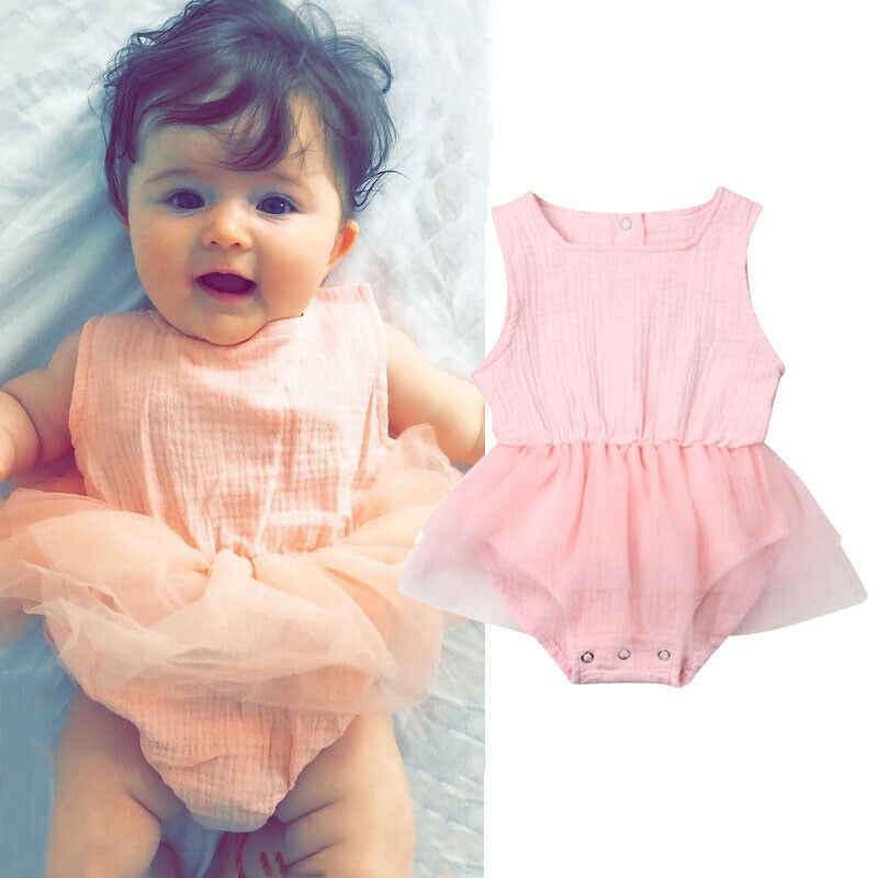 Милые Боди для новорожденных девочек; одежда из хлопка; шифоновая юбка-пачка принцессы; комбинезоны для малышей; одежда