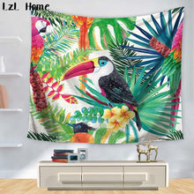 LzL Home 1ps Beauty bird Red-Crowned Crane Tapestry Rectabgle Watercolor Printed Wall Hanging Yoga Mat Bedspread Door Curtain(China)