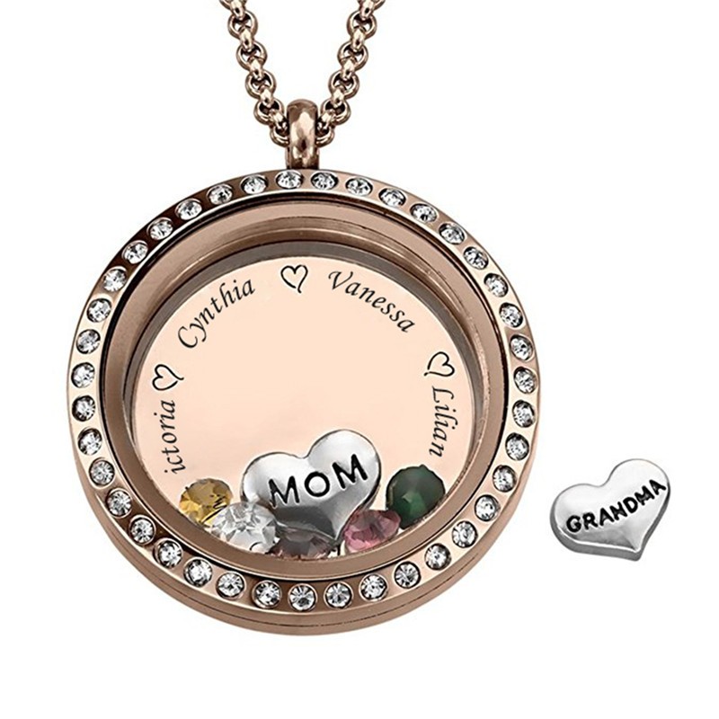 Personalised Mother/'s Day Gift Birthstone Name Necklace Hollow Pendant Jewelry
