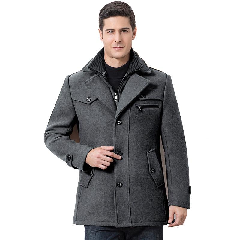 Winter Men's Casual Wool Trench Coat Fashion Business Medium Solid Thicken Slim Windbreaker Overcoat Jacket Male Plus Size 5XL 4