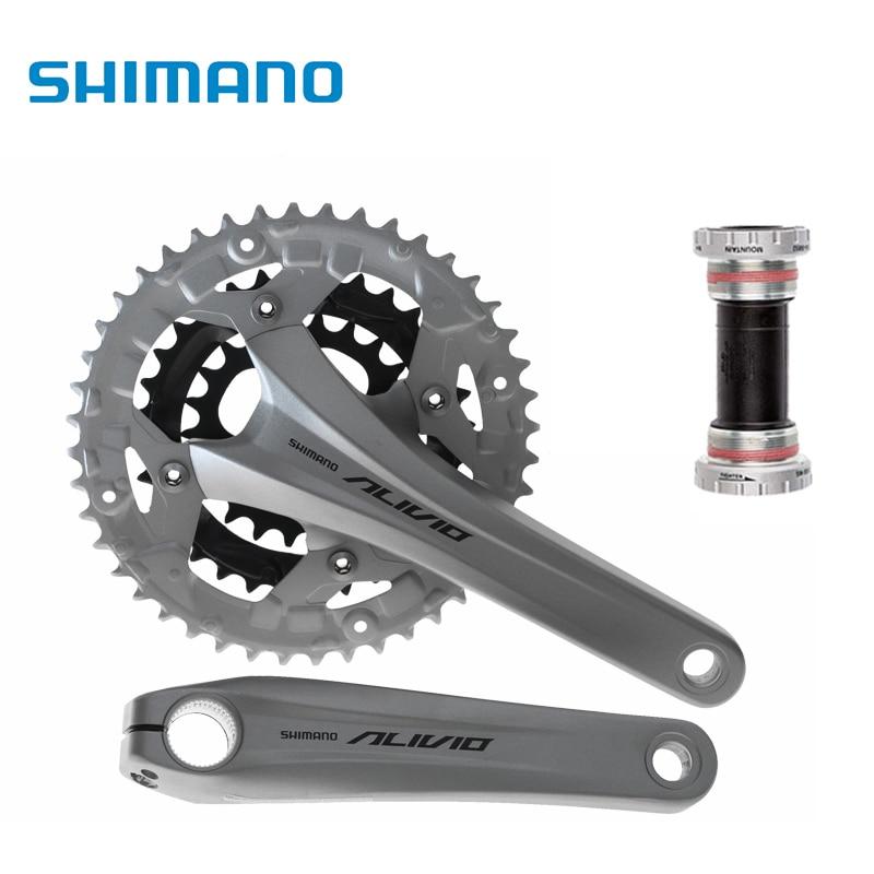 shimano ALIVIO FC-T4060 Crankset 3*9s 27S mtb Bicycle Bike Chainwheel T4060 m4050 alivio 3x9s speed mtb bike crank crankset fc m4050 with bb hollowtech bicycle parts for shinamo