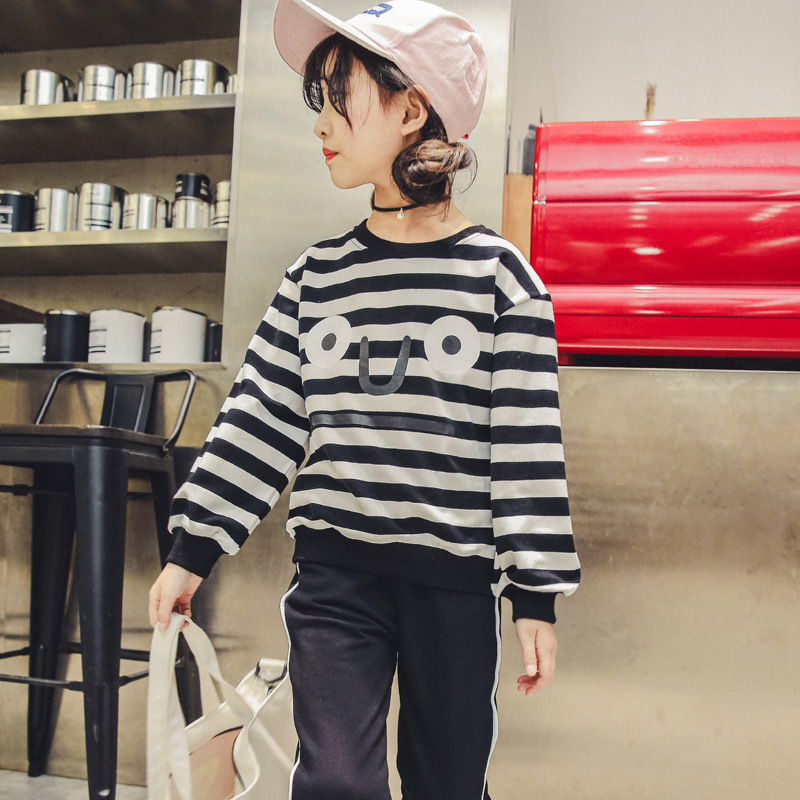 Kids Clothes Set For Teenagers 4 5 6 7 8 9 10 11 12 13 Years Striped Shirt + Pant Spring 2018 Kids Clothing Meisjes Kleding sport suit for boy 5 6 7 8 9 10 11 12 13 14 15 years teenagers kids clothing set long sleeve print shirt pant 2pcs clothes