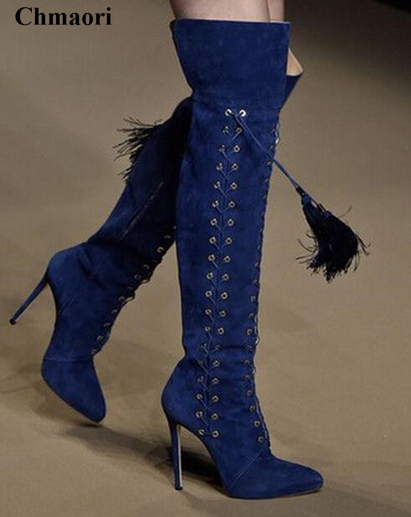 Women Beautiful Pointed Toe Suede Leather Lace-up Tassels Over Knee Boots Charming Fringes Long High Heel Boots Dress Shoes charming high waist yellow lace dress for women