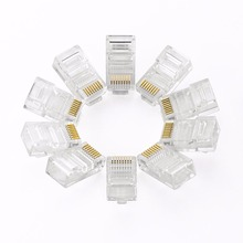 цена на Cat5 CAT5e Connector 8P8C Ethernet Cable Head Plug Gold Plated Crimp Network RJ45 Connector Crystal Plug