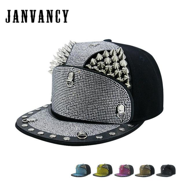 Janvancy Hip Hop Hat Baseball Caps Men Women Diamond Enamel Silver Spikes  Flat Snapbacks Steampunk Hats Man Female Luxury Design 5efbc8f568f1