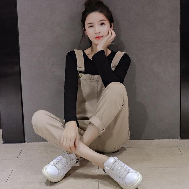 947b06b2e7 Rompers Women Jumpsuit Autumn Korean Solid Pockets Denim Jumpsuits Women  Casual Slim Strap High Waist Overalls Jean Romper