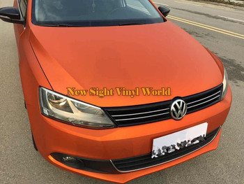 High Quality Orange Matt Brushed Chrome Vinyl Sticker Bubble Free For Car Wrapping Size:1.52*20M/Roll