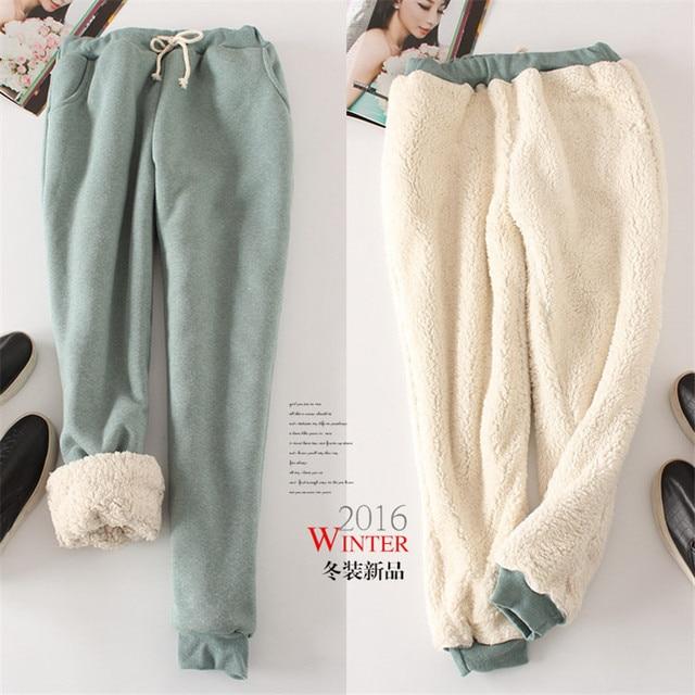 Women Pant Winter Thick Lambskin Cashmere Pants Warm Casual Pants Loose Harlan Pants Long Trousers 3