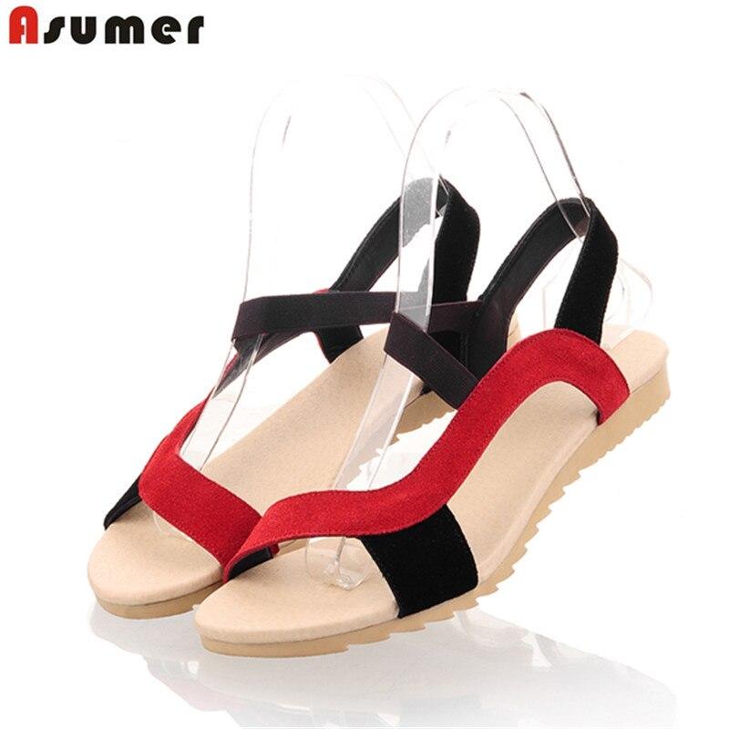 ASUMER 2018 mode haute qualité suède de vache en cuir véritable sandales couleur mélangée plat d'été chaussures femme dames chaussures Femmes sandales
