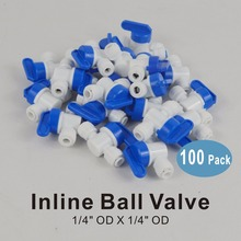 цена на 100 PACK OF 1/4-Inch OD Straight Inline Tap Ball Valve Quick Connector Fittings for Water Filters and RO Reverse Osmosis Systems