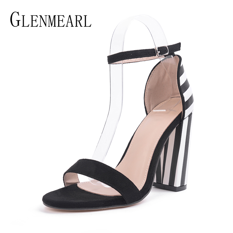 Sandals Women 2018 Summer Shoes High Heels Brand Women Sandals Square Heel Women Shoes Open Toe Ladies Sandals Party Shoes DE msfair women square toe wedges sandals fashion butterfly crystal high heels woman sandals 2018 new summer women high heel shoes