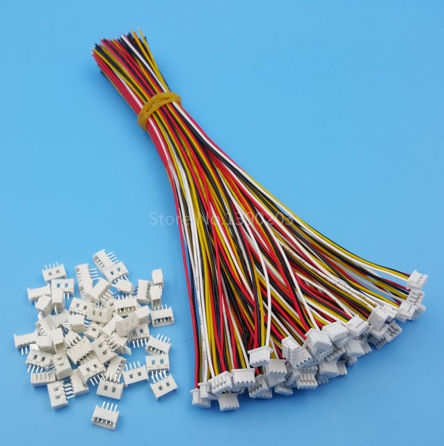 50Sets 4 Pin Single Head SH Pitch 1.25mm 15cm 28AWG Micro Wire To Board Connector